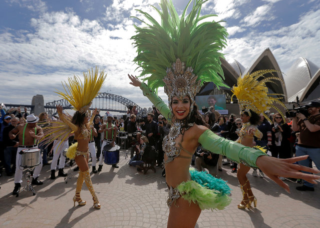 Brazilian dancers perform during an official welcome home for Australia's Olympic athletes back from Rio at the Sydney Opera House in Australia, August 29, 2016. (Photo by Jason Reed/Reuters)