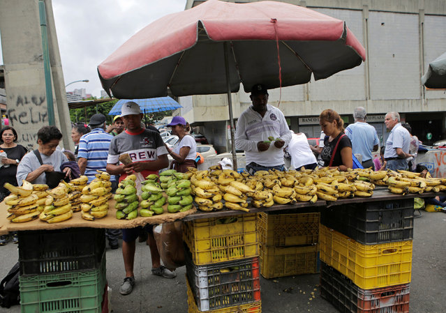 A vendor selling bananas waits for customers at his roadside stall in Caracas, Venezuela September 8, 2016. (Photo by Henry Romero/Reuters)