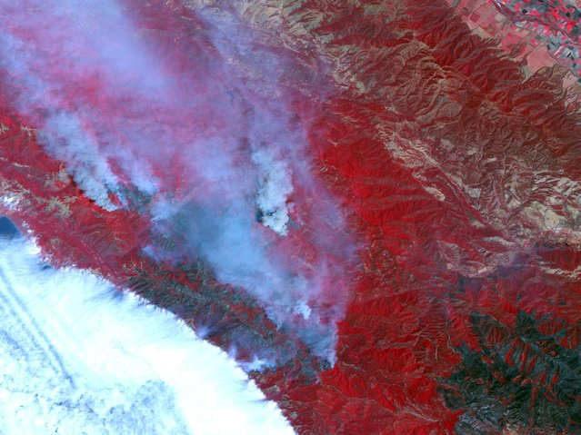 This false-color image of the Santa Lucia Range Mountains near Big Sur, California, was captured by Advanced Spaceborne Thermal Emission and Reflection Radiometer (ASTER) on NASA's Terra satellite in this June 29, 2008 file photo. The universe in false colour imagery. (Photo by Reuters/NASA/GSFC/METI/ERSDAC/JAROS and U.S./Japan ASTER Science Team)