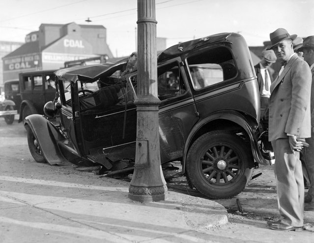 Auto wrecked, Charlestown, 1930. (Photo by Leslie Jones)