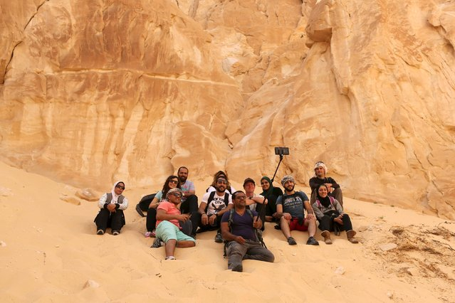 Hikers take a selfie at the White Canyon in South Sinai, Egypt, November 20, 2015. (Photo by Asmaa Waguih/Reuters)