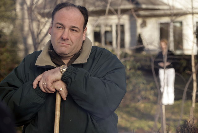 "In this photo, released by HBO in 2007, James Gandolfini portrays Tony Soprano in a scene from one of the last episodes of the HBO dramatic series ""The Sopranos"". (Photo by Craig Blankenhorn/AP Photo/HBO)"