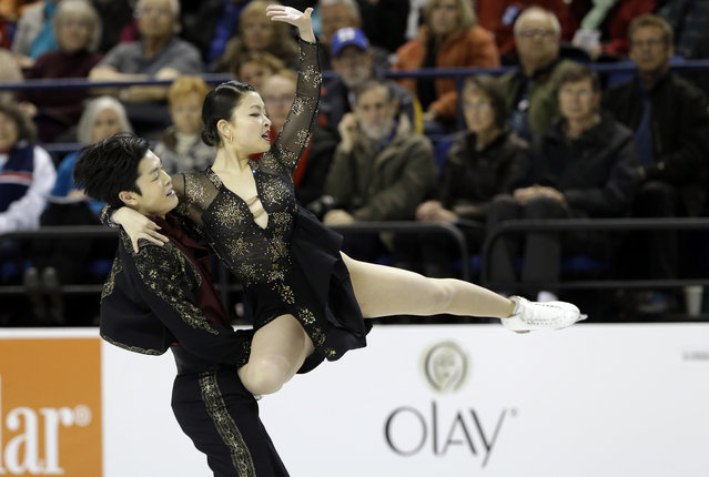 Maia Shibutani, right, and Alex Shibutani perform during their short dance program in the U.S. Figure Skating Championships in Greensboro, N.C., Friday, January 23, 2015. (Photo by Gerry Broome/AP Photo)