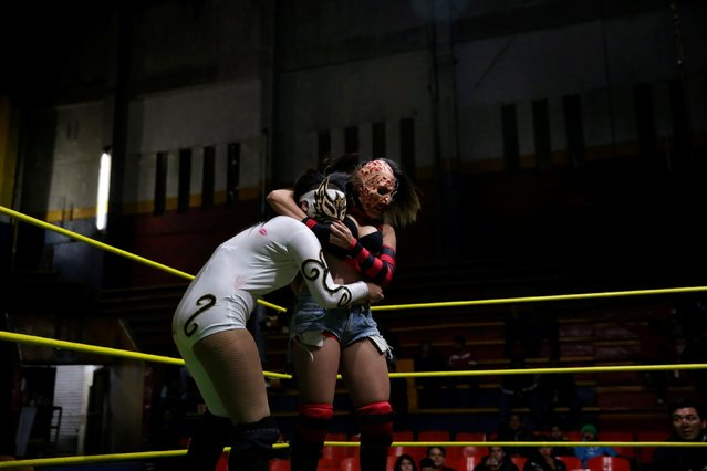 Wrestler Zeuxis (R) fights Lady Maravilla during a wrestling fight at Arena Neza on the outskirts of Mexico City, Mexico October 28, 2016. (Photo by Carlos Jasso/Reuters)