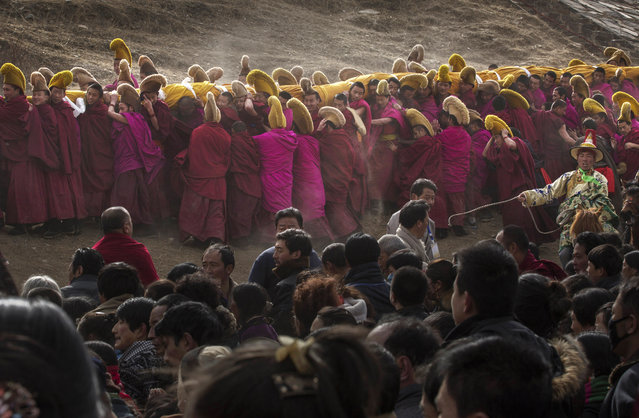 Tibetan Buddhist Monks of the Gelug, or Yellow Hat order, carry a large thangka of Buddha after showing it to worshippers during Monlam or the Great Prayer rituals on March 3, 2015 at the Labrang Monastery, Xiahe County, Amdo, Tibetan Autonomous Prefecture, Gansu Province, China. (Photo by Kevin Frayer/Getty Images)