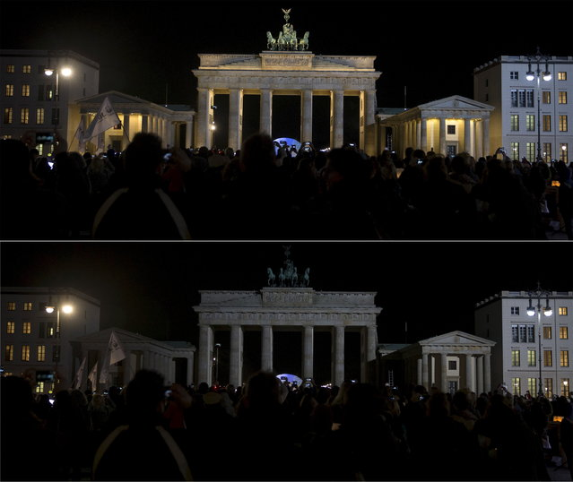 A combination picture shows the Brandenburger Tor gate before and during the Earth Hour in Berlin March 28, 2015. (Photo by Hannibal Hanschke/Reuters)