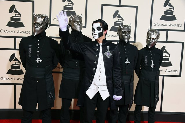 Ghost arrives at the 58th annual Grammy Awards at the Staples Center on Monday, February 15, 2016, in Los Angeles. (Photo by Jordan Strauss/Invision/AP Photo)