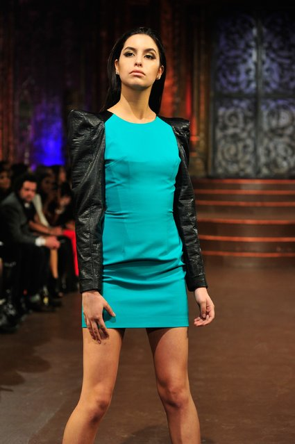 A model walks the runway at Altaf Maaneshia show during Art Hearts Fashion NYFW Fall/Winter 2016 at The Angel Orensanz Foundation on February 17, 2016 in New York City. (Photo by Kris Connor/Getty Images For Art Hearts Fashion)