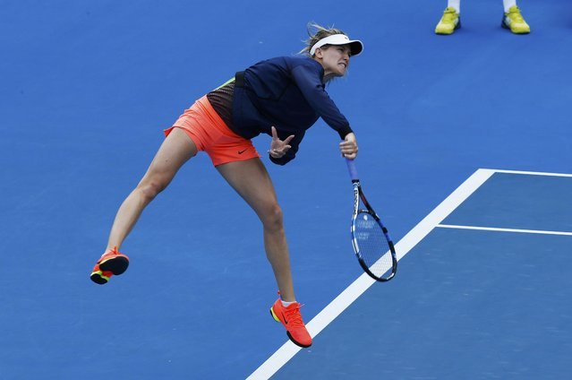 Canada's Eugenie Bouchard serves during a training session ahead of the Australian Open tennis tournament in Melbourne, Australia, January 14, 2017. (Photo by Edgar Su/Reuters)