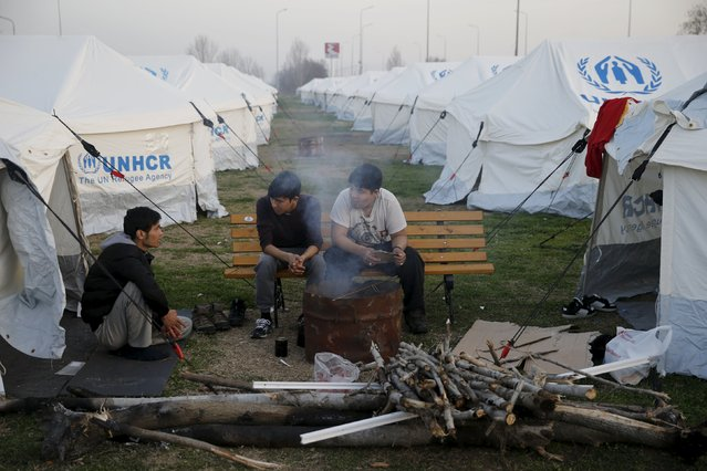 Migrants sit by a fire near the town of Polikastro, Greece February 23, 2016. (Photo by Marko Djurica/Reuters)