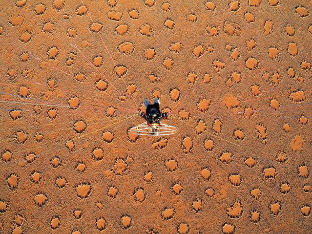 Theo Allofs flying with a powered paraglider over desert covered with fairy circles which are caused by termites, in October, 2014, in the Namib Desert, Namibia. (Photo by Theo Allofs/Barcroft Media)