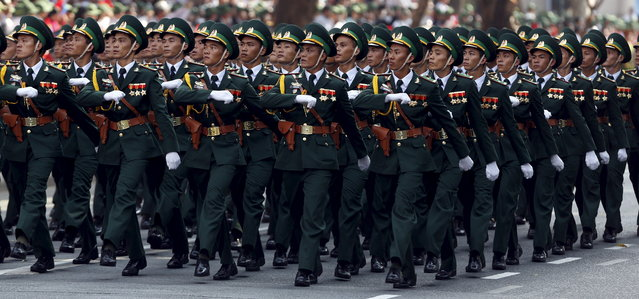 Border Guard Force personnel march during a military parade as part of the 40th anniversary of the fall of Saigon in Ho Chi Minh City, April 30, 2015. (Photo by Reuters/Kham)