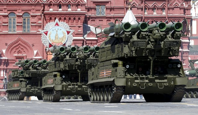 Russian servicemen operate Buk-M2 surface-to-air missile systems during a rehearsal for the Victory Day parade in Red Square in central Moscow, Russia, May 7, 2015. (Photo by Grigory Dukor/Reuters)