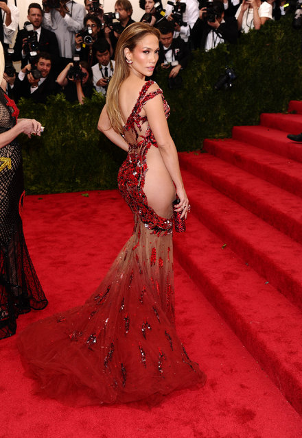 "Jennifer Lopez arrives at The Metropolitan Museum of Art's Costume Institute benefit gala celebrating ""China: Through the Looking Glass"" on Monday, May 4, 2015, in New York. (Photo by Charles Sykes/Invision/AP Photo)"
