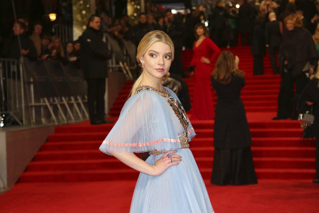 Actress Anya Taylor-Joy poses for photographers upon arrival at the British Academy Film Awards in London, Sunday, February 12, 2017. (Photo by Joel Ryan/Invision/AP Photo)
