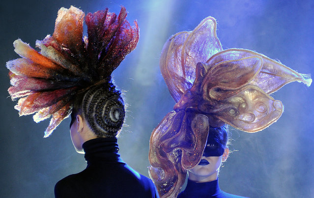 Models present creations by Belarusian studio Iteyra during the international festival A Mill of Fashion in Minsk, on May 14, 2015. (Photo by AFP Photo/Stringer)