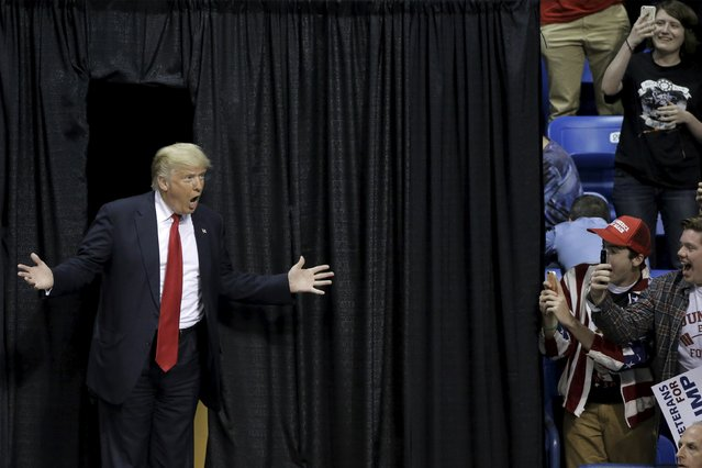 U.S. Republican presidential candidate Donald Trump arrives for a rally in Wilkes-Barre, Pennsylvania, U.S. April 25, 2016. (Photo by Brendan McDermid/Reuters)