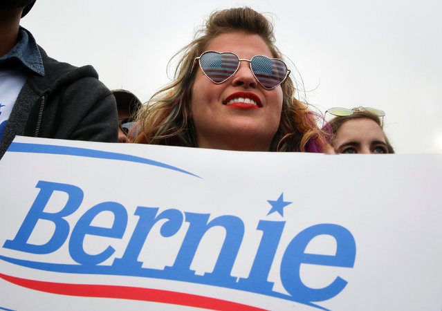 Sarah Weismer, of Long Beach, holds a sign supporting Democratic U.S. presidential candidate Bernie Sanders at a campaign rally in San Francisco, California, U.S. June 6, 2016. (Photo by Elijah Nouvelage/Reuters)