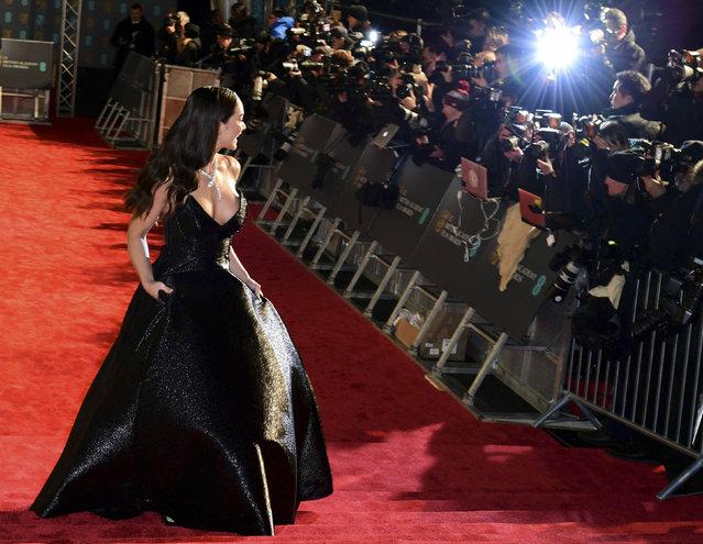 Amy Jackson attending the 72nd BAFTA (British Academy Film Awards) ceremony at the Royal Albert Hall in London, Sunday Febtuary 10, 2019. (Ian West/PA Wire Press Association via AP Photo)