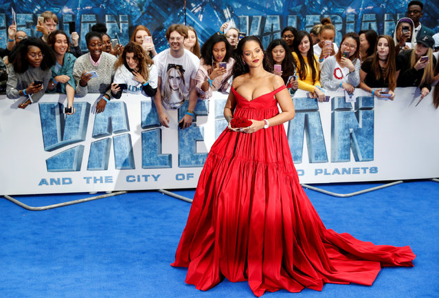 "Cast member Rihanna poses at the European premiere of ""Valerian and the City of a Thousand Planets"" in London, Britain July 24, 2017. (Photo by Darren Staples/Reuters)"