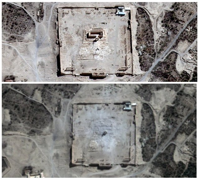 Combination picture shows the site of the Temple of Bel before (top) and after its apparent destruction in Palmyra, Syria, in this August 27, 2015 and August 31, 2015 handout satellite images provided by UrtheCast, Airbus DS, UNITAR-UNOSAT. The hardline Islamic State group has destroyed part of the ancient temple in Syria's Palmyra city, a group monitoring the conflict said on Sunday. (Photo by Reuters/UrtheCast/Airbus DS)