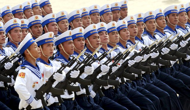Vietnamese navy sailors march during a parade marking their 70th National Day at Ba Dinh square in Hanoi, Vietnam September 2, 2015. (Photo by Reuters/Kham)