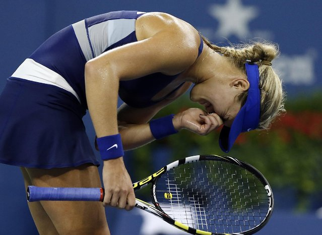 Eugenie Bouchard, of Canada, reacts after losing a point against Barbora Zahlavova Strycova, of the Czech Republic, during the third round of the U.S. Open tennis tournament Saturday, August 30, 2014, in New York. (Photo by Elise Amendola/AP Photo)