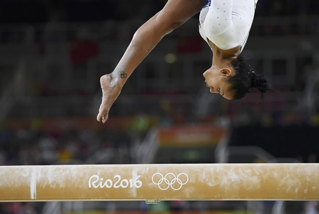 2016 Rio Olympics, Artistic Gymnastics, Final, Women's Team Final, Rio Olympic Arena, Rio de Janeiro, Brazil on August 9, 2016. Rebecca Downie (GBR) of United Kingdom competes on the beam during the women's team final. (Photo by Dylan Martinez/Reuters)