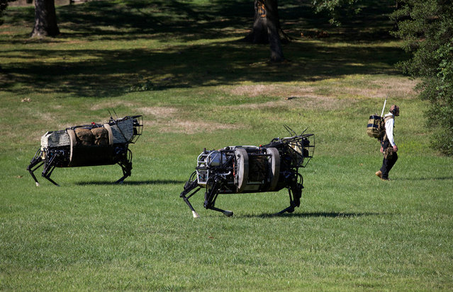 Two robotic legged squad support system (LS3) machines by the Defense Advanced Research Project Agency follow a technician during a demonstration at Joint Base Myer-Henderson Hall, Virginia, on September 10, 2012. (U.S. Marine Corps photo by Sgt. Mallory S. VanderSchans)