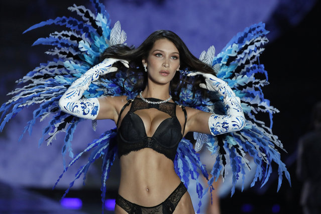 Model Bella Hadid wears a creation during the Victoria's Secret fashion show at the Mercedes-Benz Arena in Shanghai, China, Monday, November 20, 2017. (Photo by Andy Wong/AP Photo)
