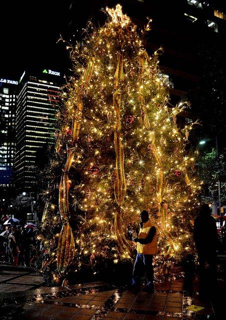 The Birmingham Christmas Tree lights up Linn Park in downtown Birmingham, Alabama. (Photo by Mark Almond/AL.com)