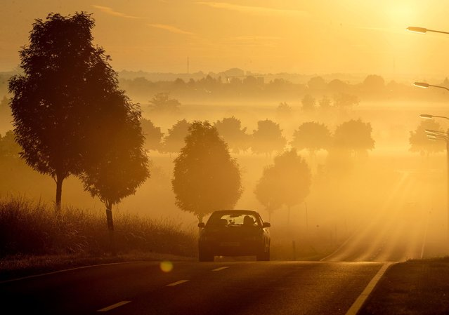A car drives on a road in the outskirts of Frankfurt, Germany, after sunrise on Friday, June 19, 2020. (Photo by Michael Probst/AP Photo)