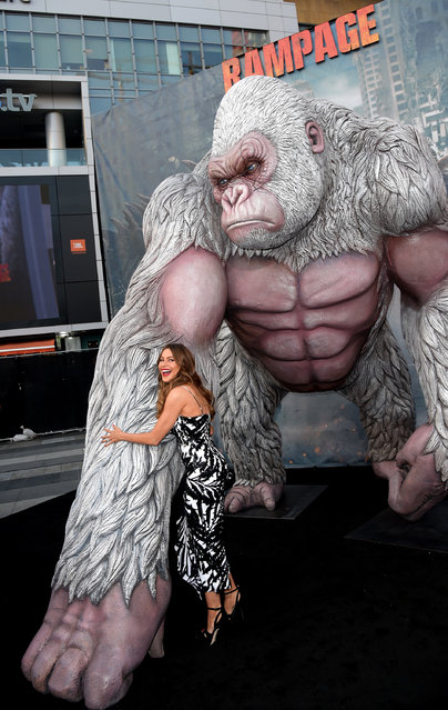 """Actress Sofia Vergara arrives at the premiere of Warner Bros. Pictures' """"Rampage"""" at the Microsoft Theatre on April 4, 2018 in Los Angeles, California. (Photo by Kevin Winter/Getty Images)"""
