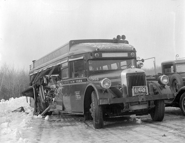 Bus accident in Norwood, 1934. (Photo by Leslie Jones)