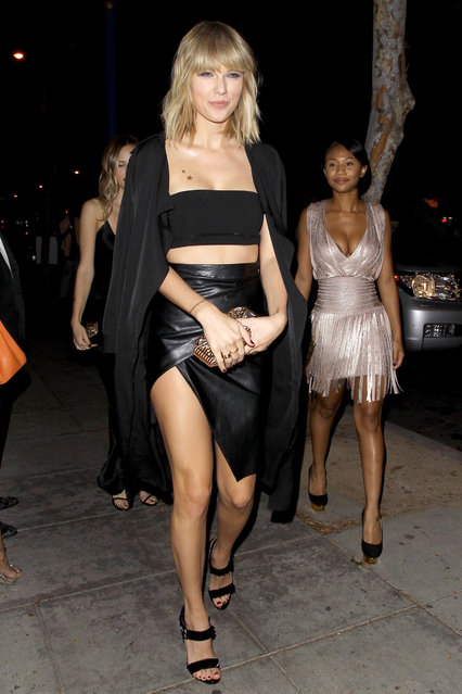 Taylor Swift looked ready for battle as she arrived at Drake's birthday bash with her girl squad – where her arch-rival Katy Perry and their shared ex John Mayer would also be. The 26-year-old looked to be in good spirits as she joined her model bestie Karlie Kloss, the Haim sisters and a host of other pals at the grand do to celebrate Drake's 30th birthday in West Hollywood on Sunday, October 23, 2016. (Photo by XposurePhotos.com)