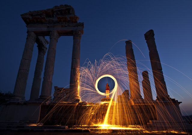 """Pergamon light"". Pergamon was an ancient Greek city in Aeolis, today located 16 miles (26 km) from the Aegean Sea on a promontory on the north side of the river Caicus (modern day Bakırçay). Some ancient authors regarded it as a colony of the Arcadians, but the various origin stories all belong to legend. Location: Pergamon, Bergama, Izmir. (Photo and caption by Mehmet Fatih Yaldız/National Geographic Traveler Photo Contest)"