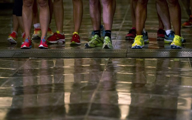 Members of the Men's Elite class stand at the starting line during the 38th Annual Empire State Building Run-Up in the Manhattan borough of New York February 4, 2015. (Photo by Carlo Allegri/Reuters)
