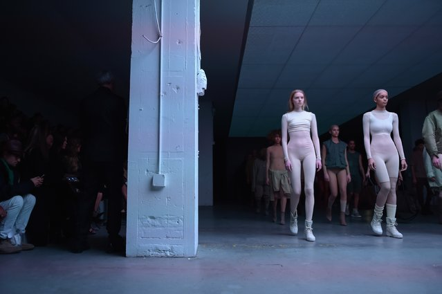 Models on the runway at the adidas Originals x Kanye West YEEZY SEASON 1 fashion show during New York Fashion Week Fall 2015 at Skylight Clarkson Sq on February 12, 2015 in New York City. (Photo by Gareth Cattermole/Getty Images for adidas)