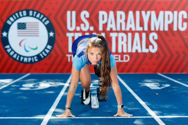 United States Paralympic Athlete Noelle Lambert poses for a portrait during a practice session ahead of the 2021 U.S. Paralympic Trials at Breck High School on June 16, 2021 in Minneapolis, Minnesota. (Photo by Christian Petersen/Getty Images)