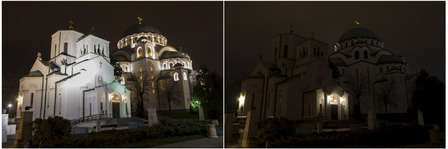 A combination photo shows St. Sava church before and during the Earth Hour in Belgrade March 28, 2015. (Photo by Marko Djurica/Reuters)