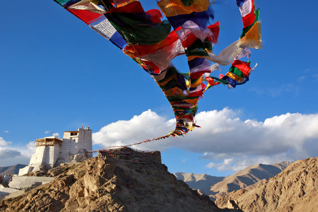 Prayer flags fly at Namgyal Tsemo Monastery above the town of Leh in Ladakh, India September 24, 2016. (Photo by Cathal McNaughton/Reuters)