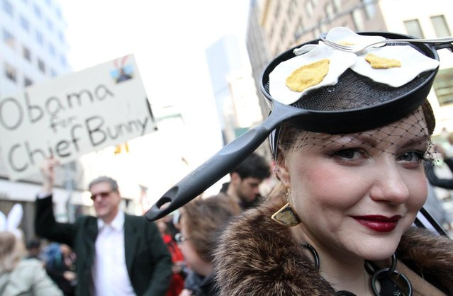 Victoria Lee poses as she takes part in the Easter Parade along New York's Fifth Avenue on Sunday, April 5, 2015. (Photo by Tina Fineberg/AP Photo)