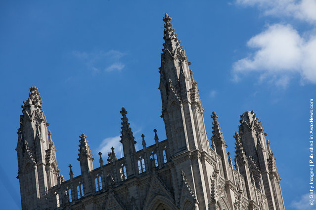 Spires of the Washington National Cathedral after a 5.8 magnitude earthquake