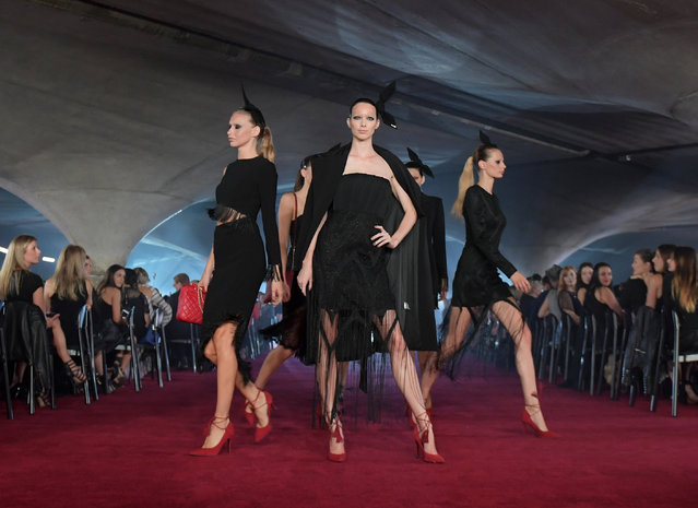 Models on the catwalk for the launch of retailer Myer's autumn 17 collection at the University of Melbourne, Australia on February 16, 2017. (Photo by Tracey Nearmy/AAP)