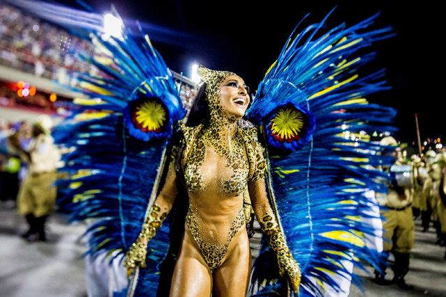 Sabrina Sato, Queen of Percussion of Vila Isabel samba school, performs during its parade at 2014 Brazilian Carnival at Sapucai Sambadrome on March 03, 2014 in Rio de Janeiro, Brazil. (Photo by Buda Mendes/Getty Images)