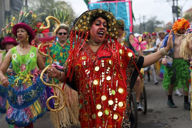 Members of the Mondo Kayo Social and Marching Club march during the Krewe of Zulu parade at Mardi Gras in New Orleans, Louisiana U.S., February 28, 2017. (Photo by Shannon Stapleton/Reuters)