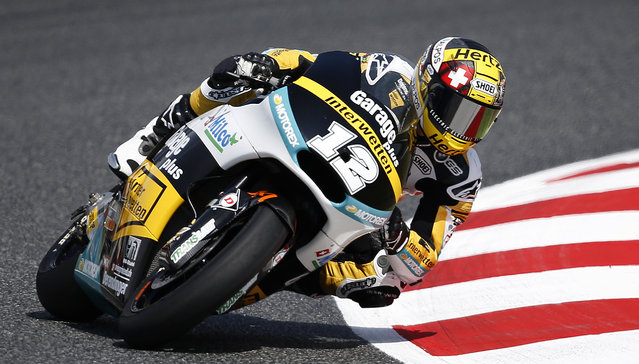 Switzerland's Thomas Luthi steers his Kalex during the Moto 2 third free practice session for the motorcycle GP in Montmelo, Spain, Saturday, June 13, 2015. The Catalunya Grand Prix will take place on Sunday in Montmelo. (AP Photo/Manu Fernandez)