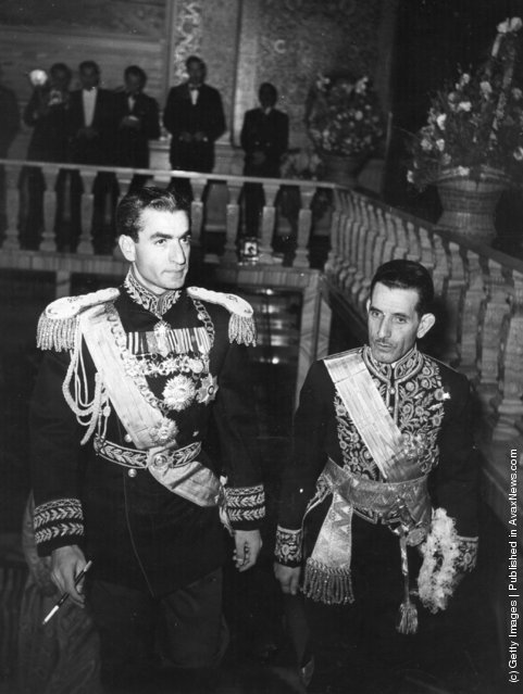14th February 1951:  The Shah of Iran arrives at his palace on the day of his wedding