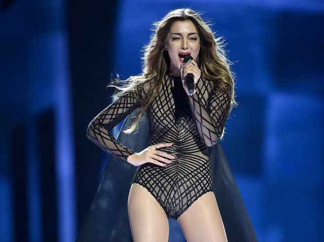 """Armenia's Iveta Mukuchyan performs """"LoveWave"""" during the first Eurovision Song Contest semifinal in Stockholm, Sweden, Tuesday, May 10, 2016. (Photo by Martin Meissner/AP Photo)"""