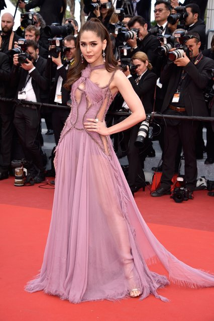 """Araya A. Hargate attends the """"Money Monster"""" premiere during the 69th annual Cannes Film Festival at the Palais des Festivals on May 12, 2016 in Cannes, France. (Photo by Clemens Bilan/Getty Images)"""
